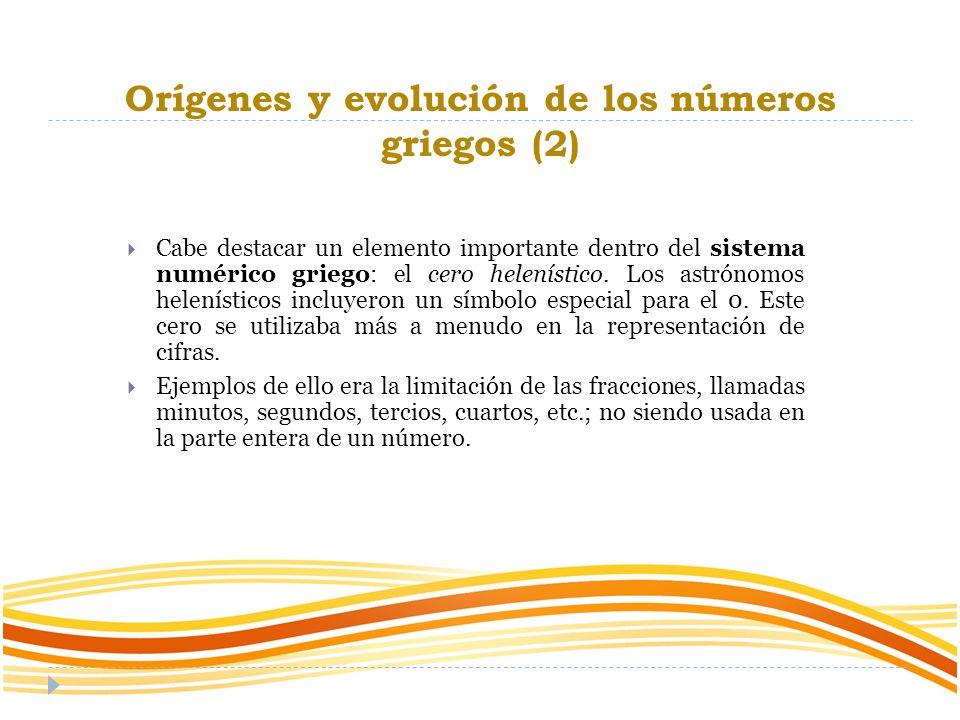 Orígenes y evolución de los números griegos (2)