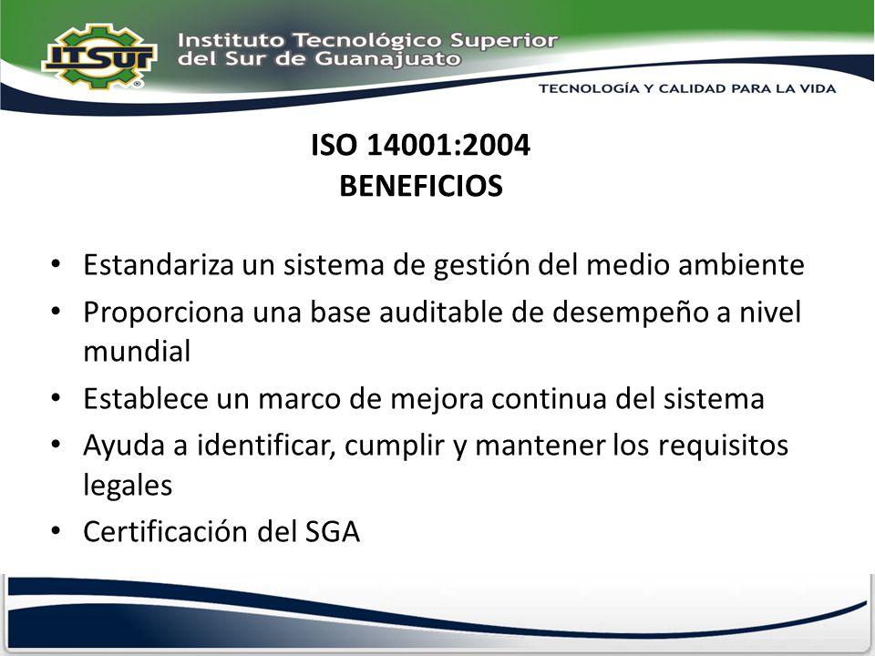 ISO 14001:2004 BENEFICIOS Estandariza un sistema de gestión del medio ambiente. Proporciona una base auditable de desempeño a nivel mundial.
