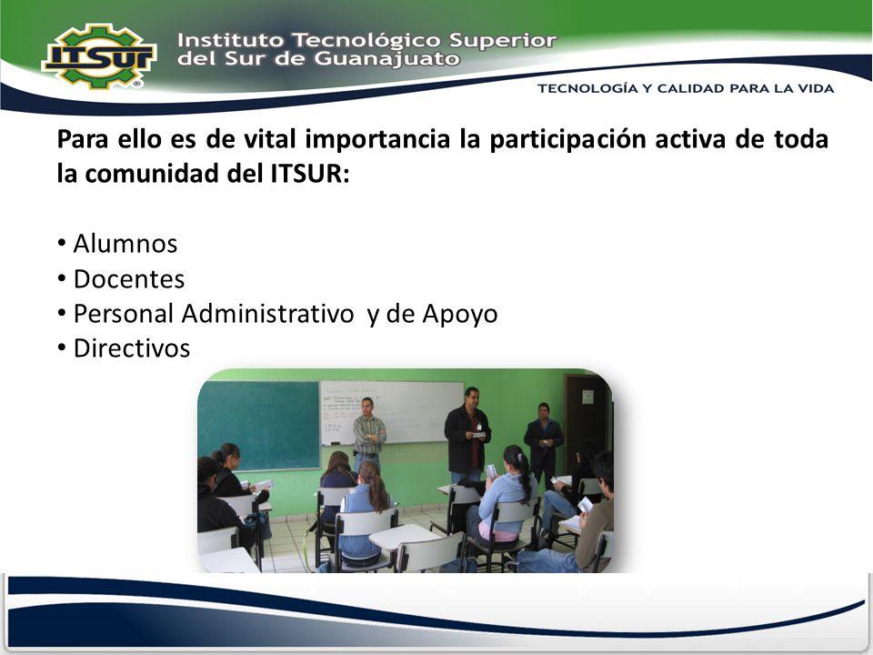 Para ello es de vital importancia la participación activa de toda la comunidad del ITSUR: