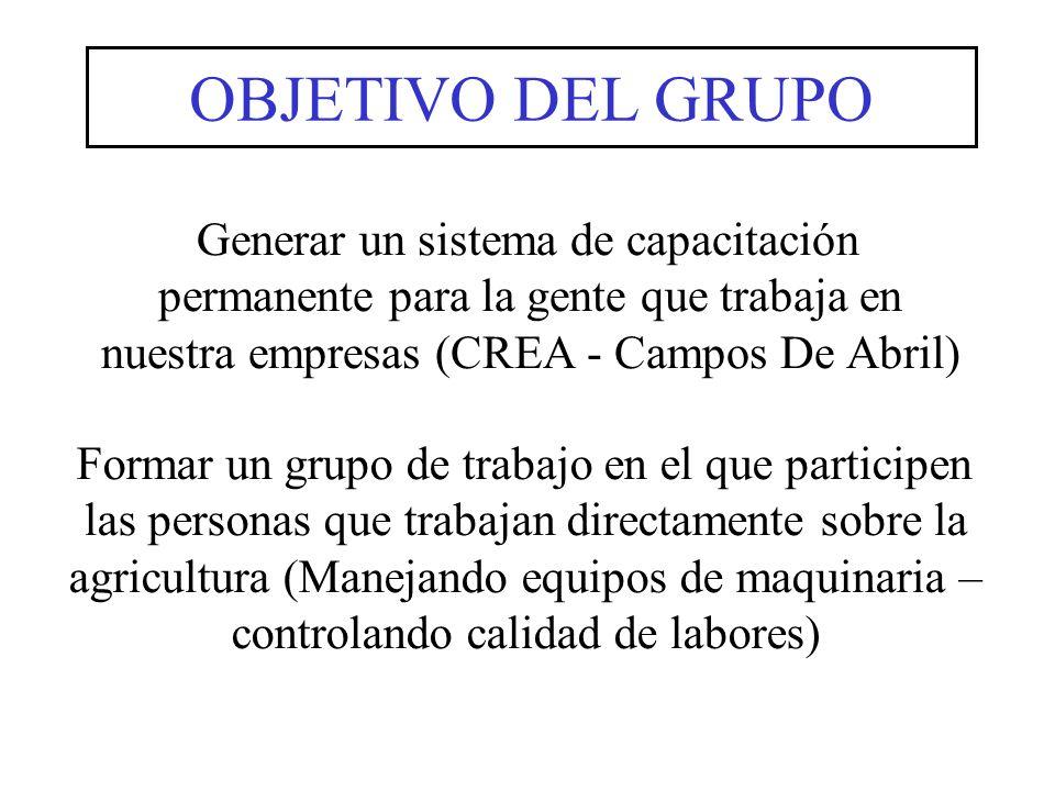 OBJETIVO DEL GRUPO Generar un sistema de capacitación permanente para la gente que trabaja en nuestra empresas (CREA - Campos De Abril)