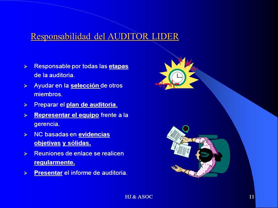 Responsabilidad del AUDITOR LIDER