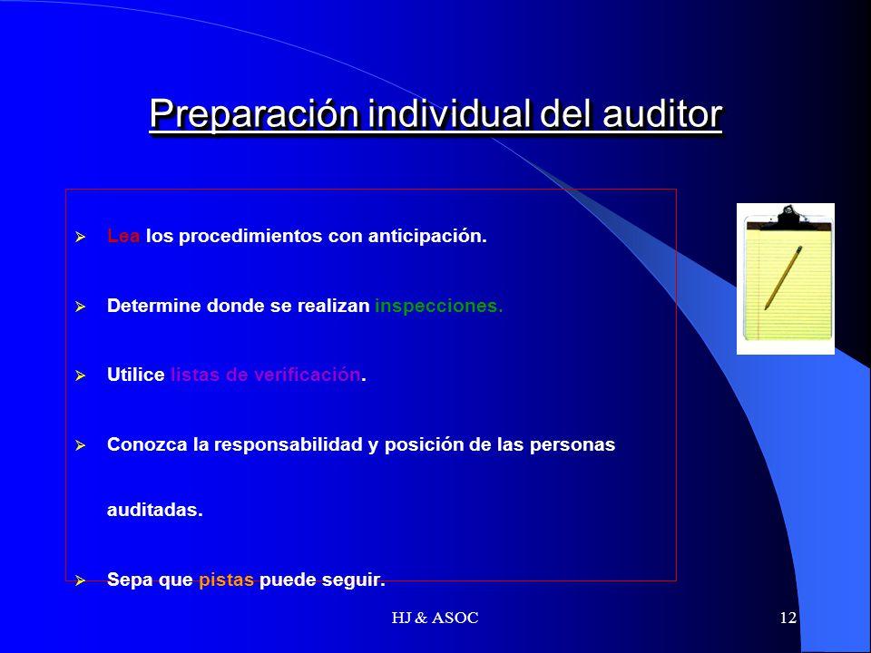 Preparación individual del auditor