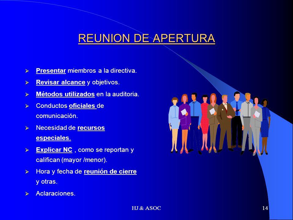 REUNION DE APERTURA Presentar miembros a la directiva.