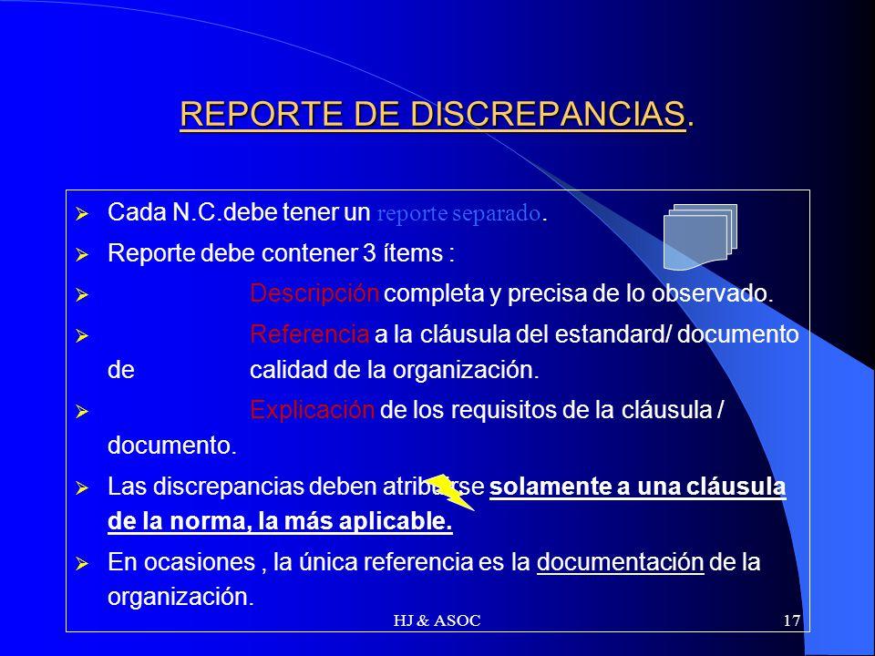 REPORTE DE DISCREPANCIAS.