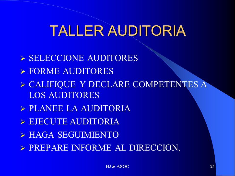 TALLER AUDITORIA SELECCIONE AUDITORES FORME AUDITORES