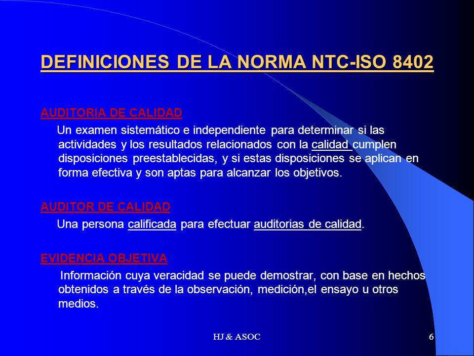 DEFINICIONES DE LA NORMA NTC-ISO 8402