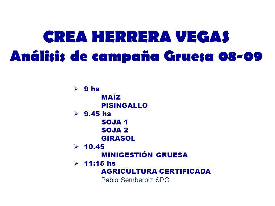 CREA HERRERA VEGAS Análisis de campaña Gruesa 08-09