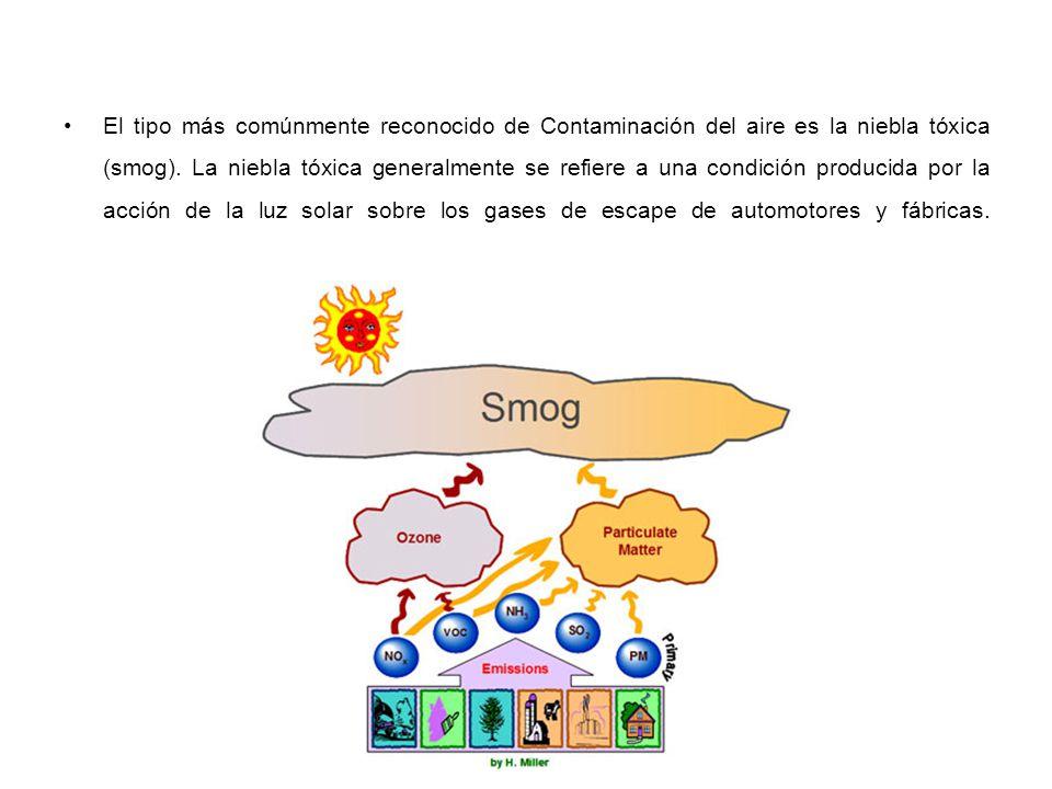 El tipo más comúnmente reconocido de Contaminación del aire es la niebla tóxica (smog).