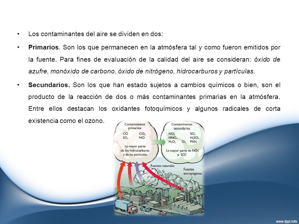 Los contaminantes del aire se dividen en dos: