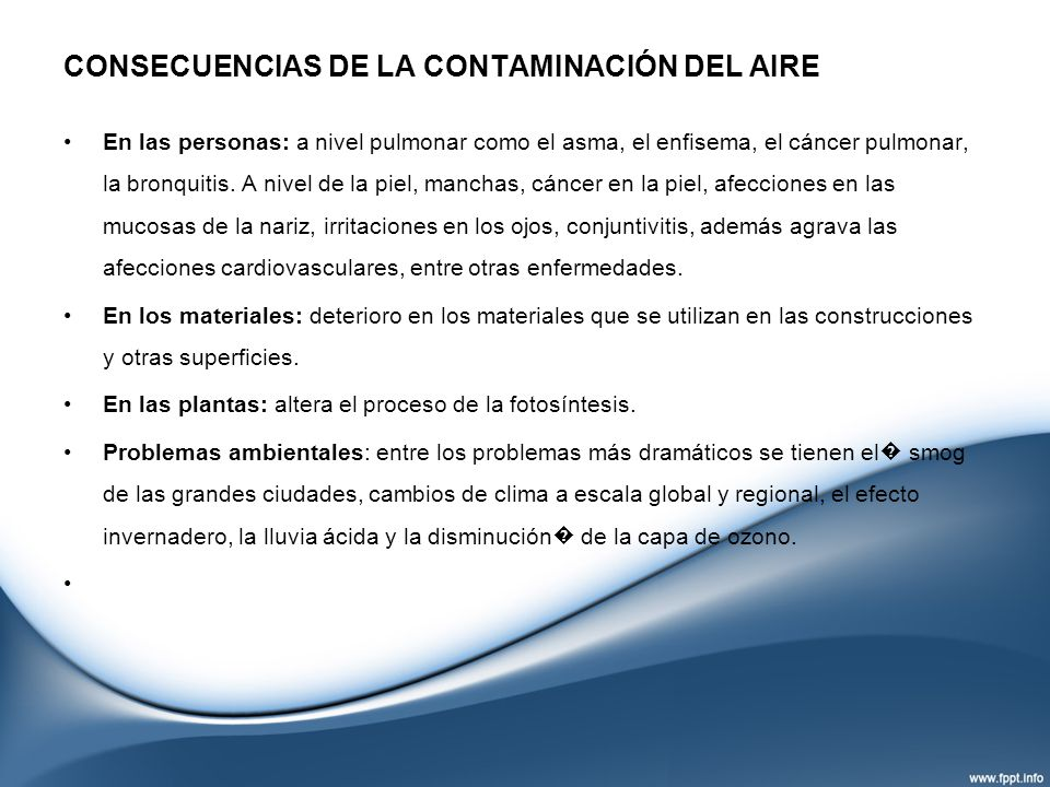 CONSECUENCIAS DE LA CONTAMINACIÓN DEL AIRE