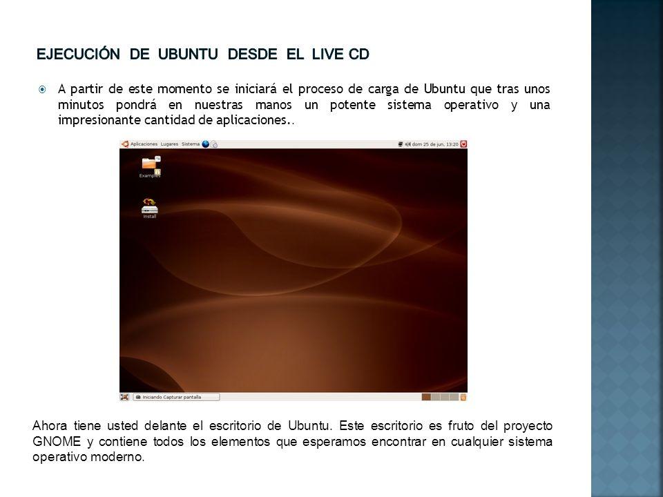 Ejecución de Ubuntu desde el live cd
