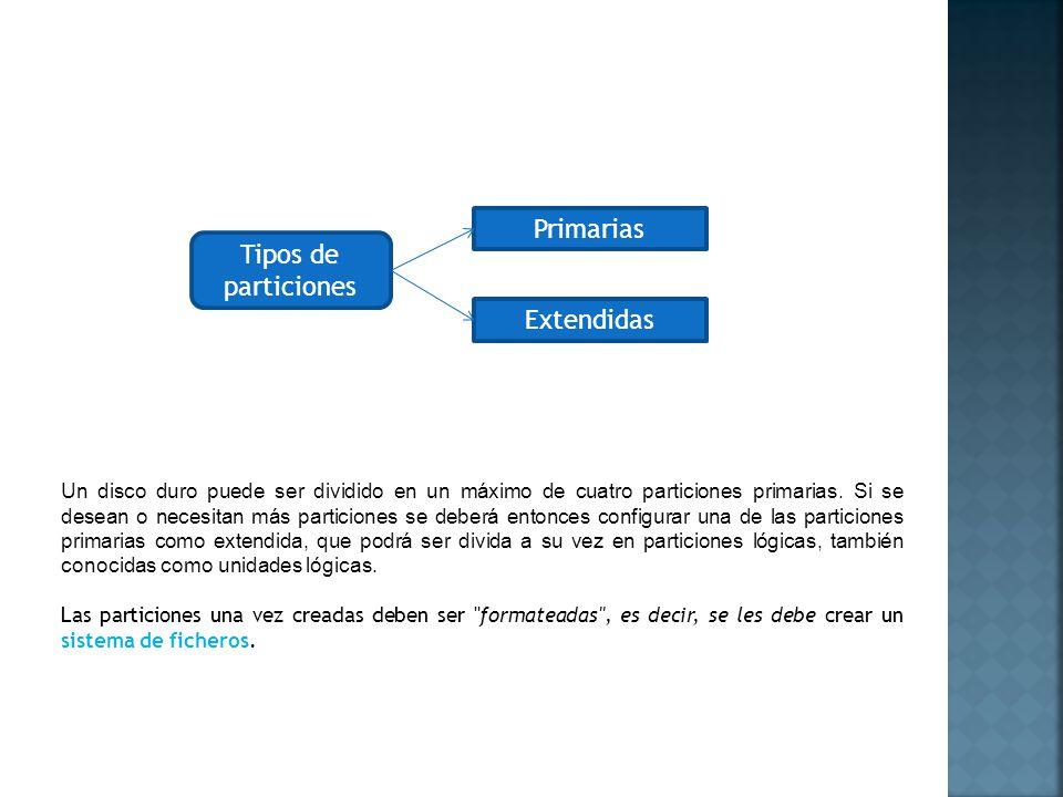 Primarias Tipos de particiones Extendidas