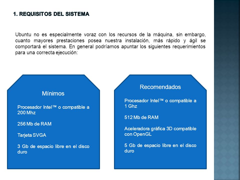 1. Requisitos del sistema