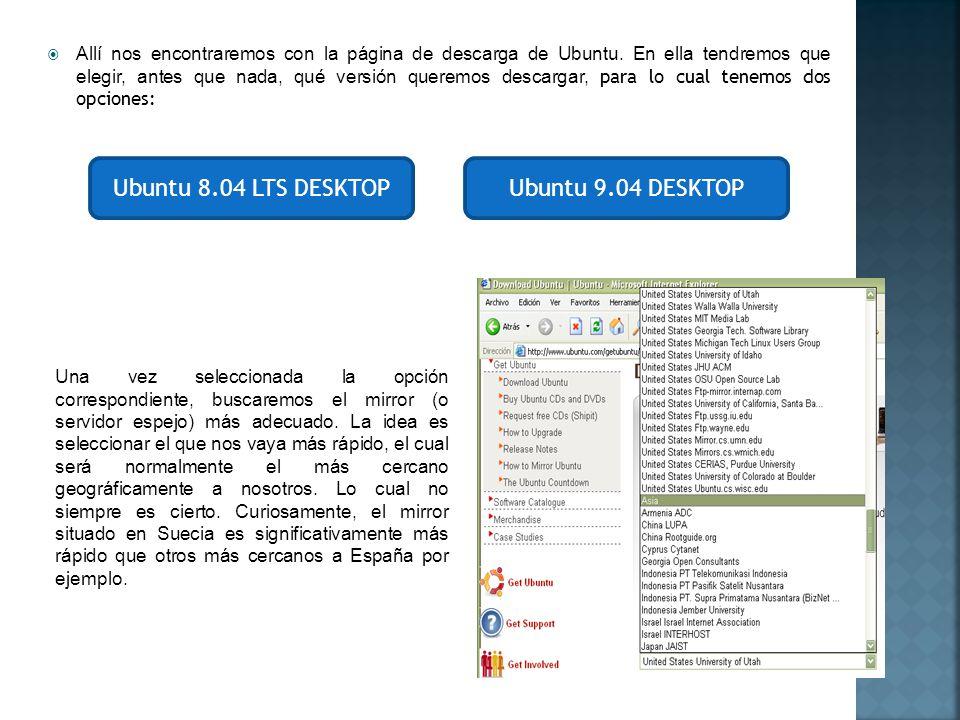 Ubuntu 8.04 LTS DESKTOP Ubuntu 9.04 DESKTOP