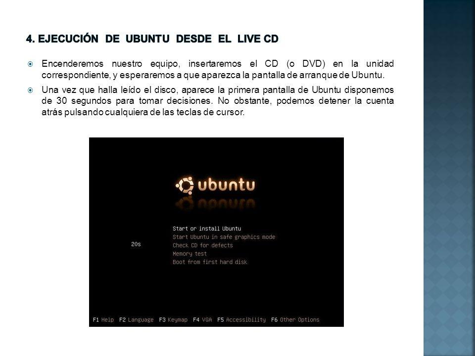 4. Ejecución de ubuntu desde el LIVE cd