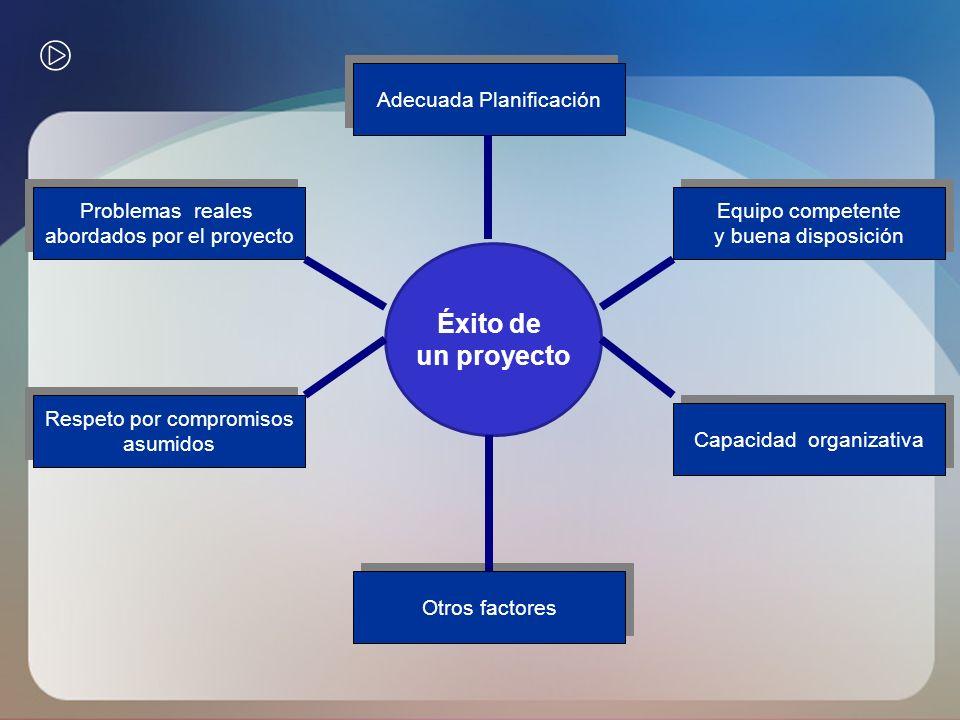 Éxito de un proyecto Adecuada Planificación Problemas reales