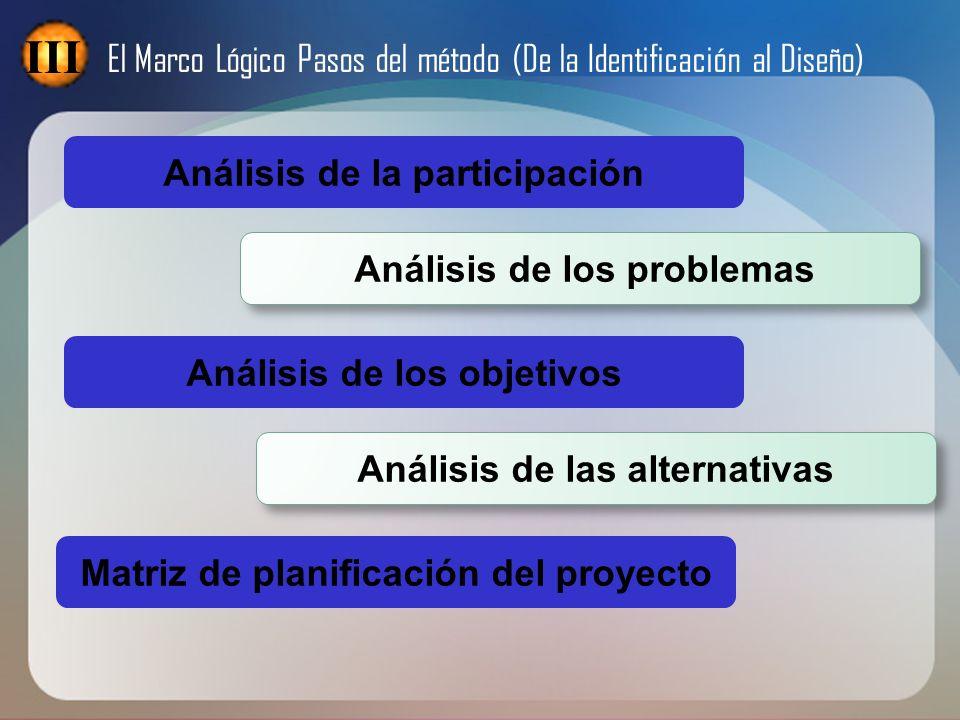 III El Marco Lógico Pasos del método (De la Identificación al Diseño)