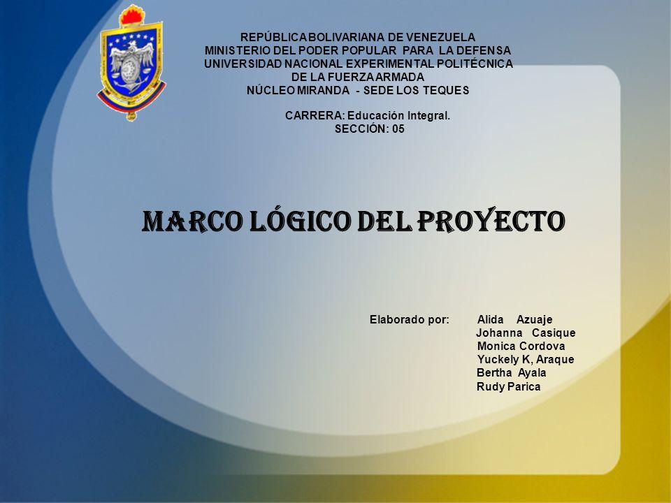 MARCO LÓGICO DEL PROYECTO