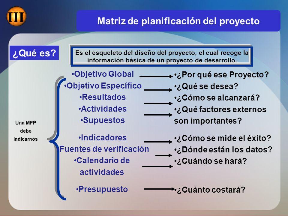 Matriz de planificación del proyecto Fuentes de verificación