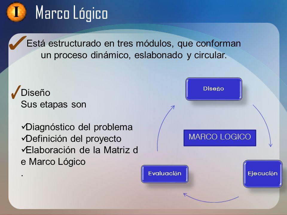 I Marco Lógico. Está estructurado en tres módulos, que conforman un proceso dinámico, eslabonado y circular.