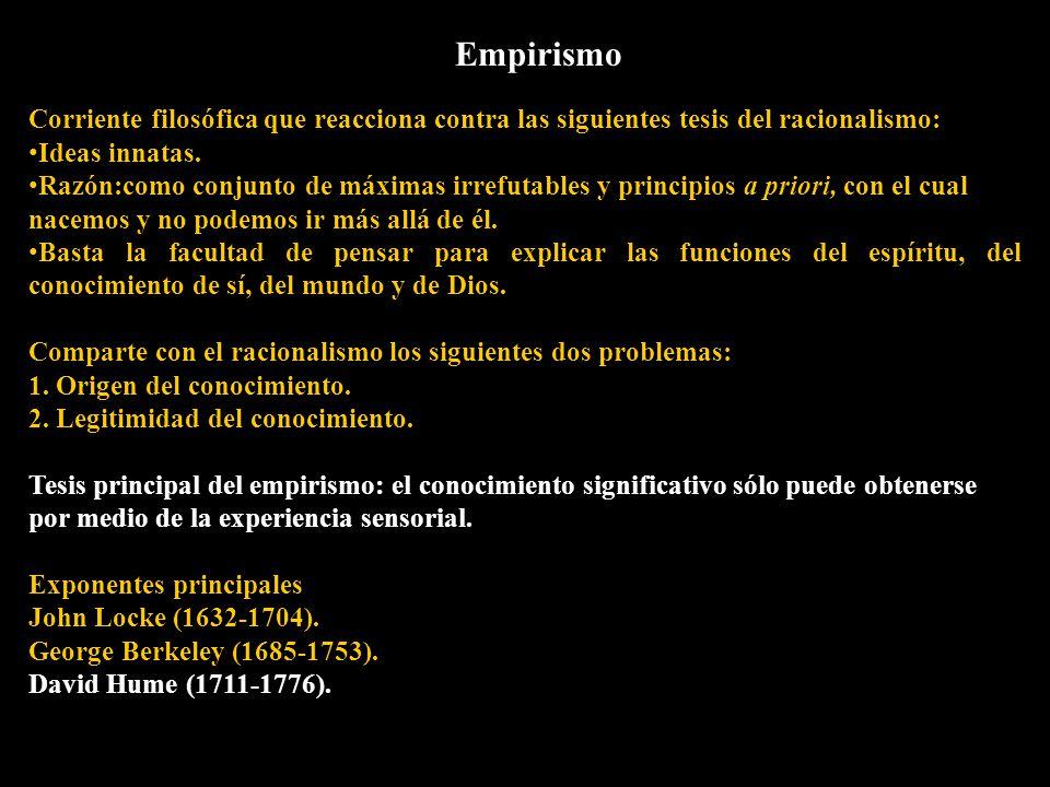 Empirismo Corriente filosófica que reacciona contra las siguientes tesis del racionalismo: Ideas innatas.