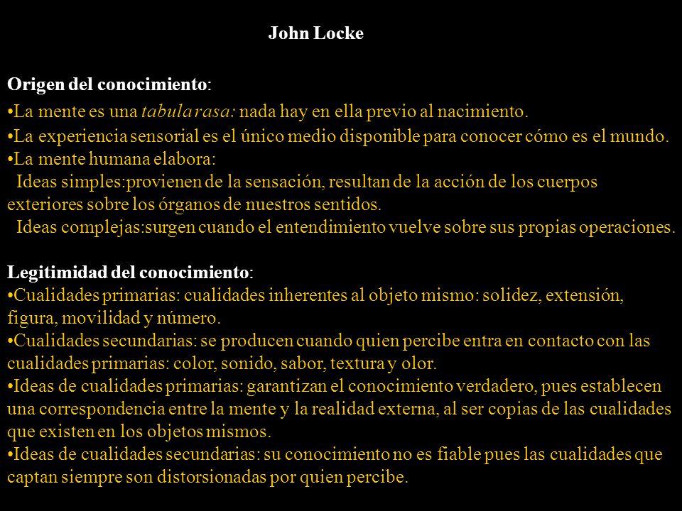 John Locke Origen del conocimiento: La mente es una tabula rasa: nada hay en ella previo al nacimiento.