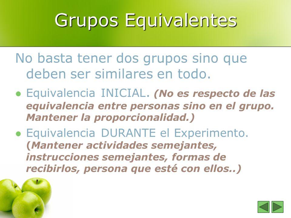 Grupos Equivalentes No basta tener dos grupos sino que deben ser similares en todo.