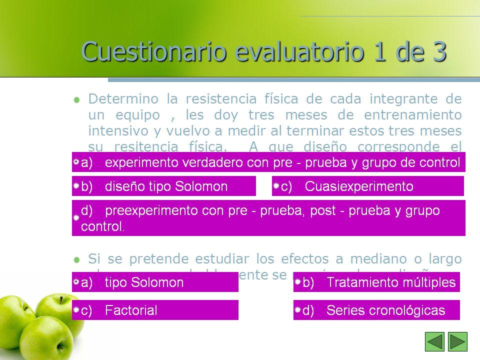 Cuestionario evaluatorio 1 de 3