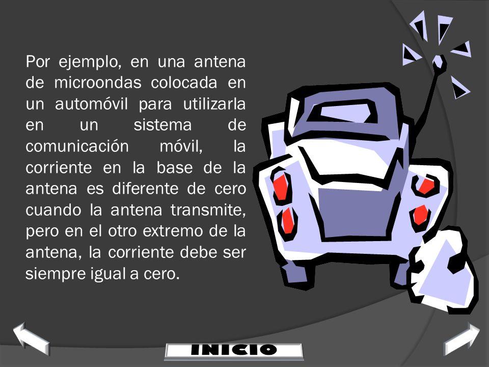Por ejemplo, en una antena de microondas colocada en un automóvil para utilizarla en un sistema de comunicación móvil, la corriente en la base de la antena es diferente de cero cuando la antena transmite, pero en el otro extremo de la antena, la corriente debe ser siempre igual a cero.
