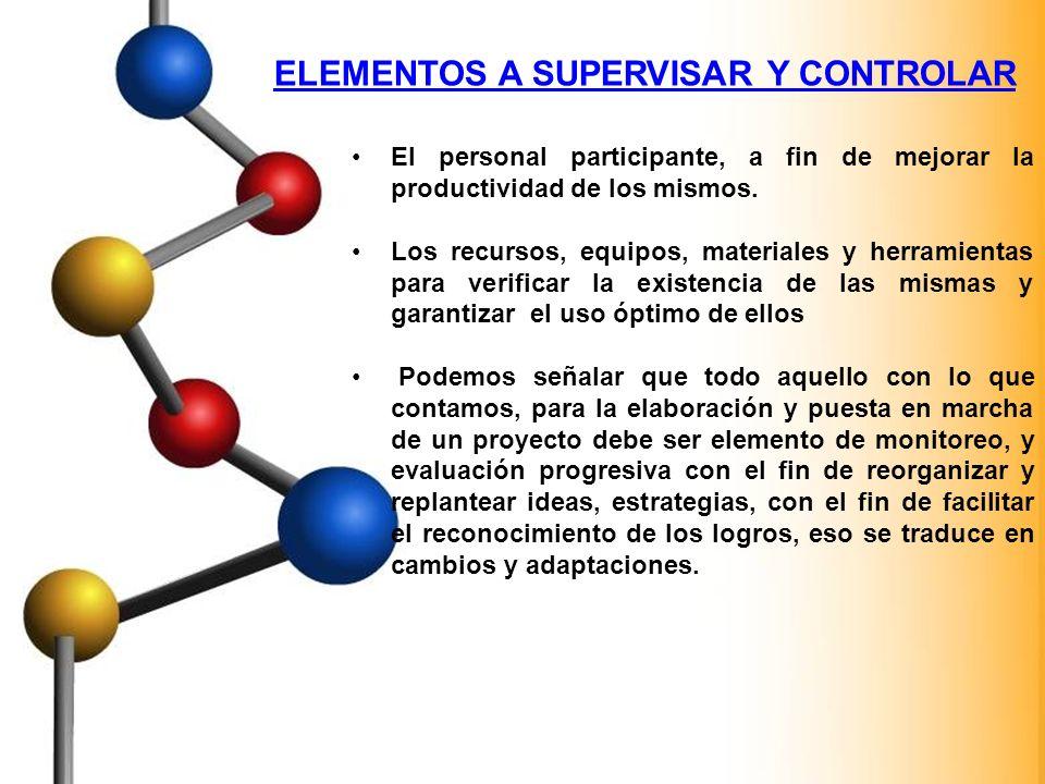 ELEMENTOS A SUPERVISAR Y CONTROLAR