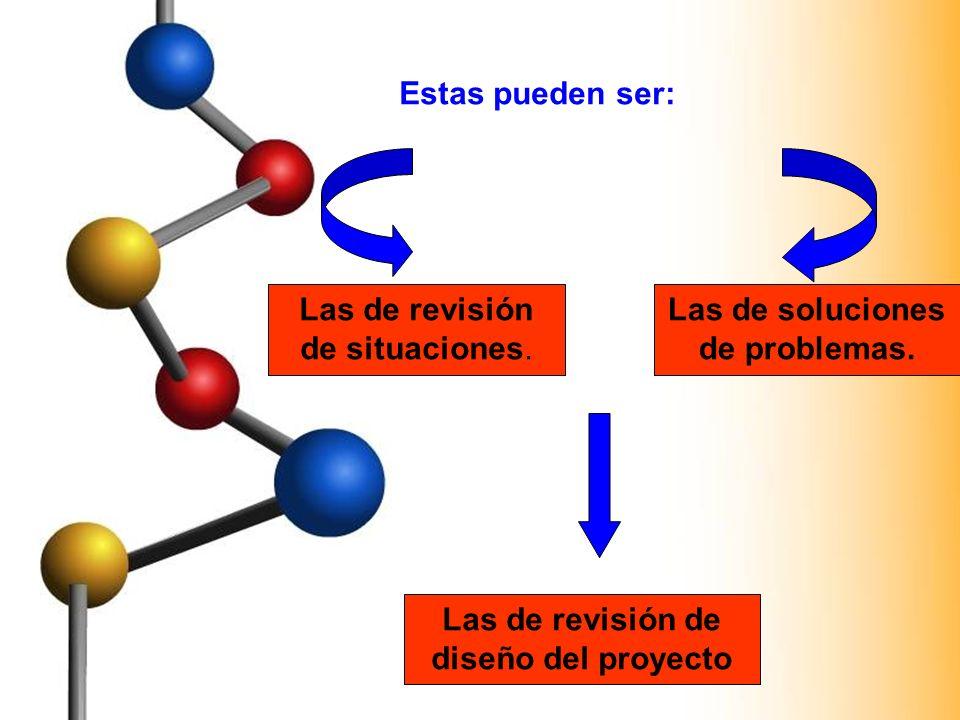 Las de soluciones de problemas. Las de revisión de diseño del proyecto