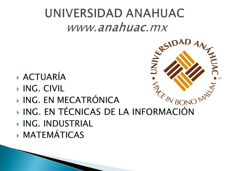 UNIVERSIDAD ANAHUAC www.anahuac.mx
