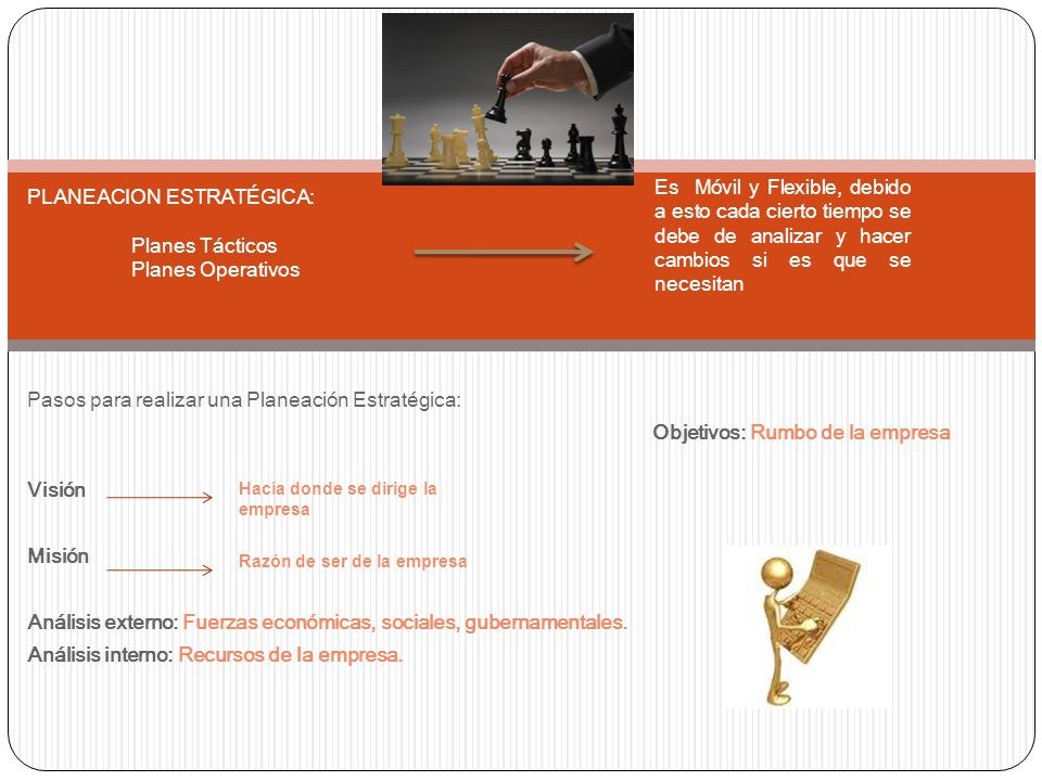 PLANEACION ESTRATÉGICA: Planes Tácticos Planes Operativos
