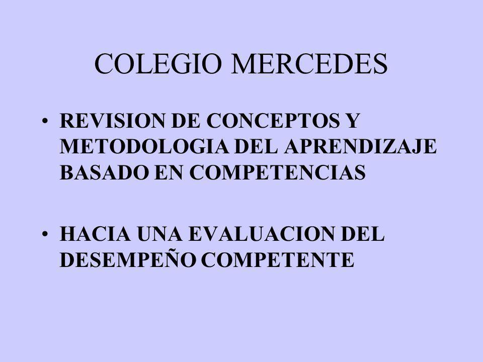 COLEGIO MERCEDES REVISION DE CONCEPTOS Y METODOLOGIA DEL APRENDIZAJE BASADO EN COMPETENCIAS.