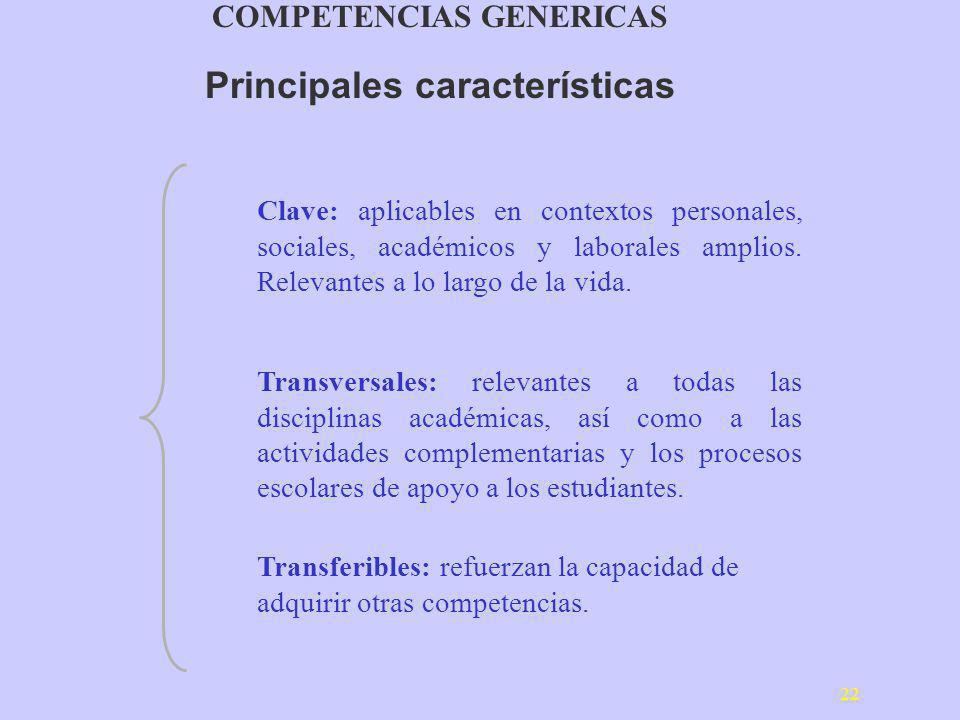 COMPETENCIAS GENERICAS Principales características