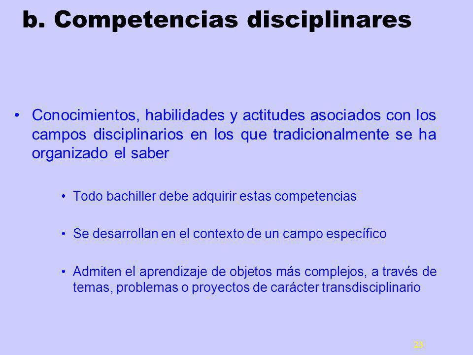 b. Competencias disciplinares