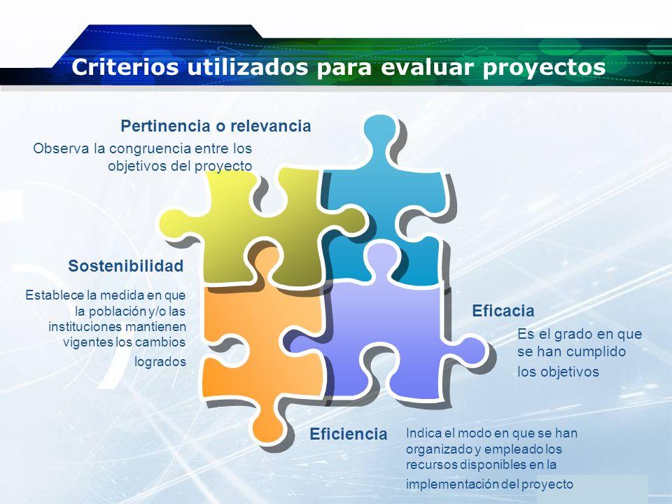 Criterios utilizados para evaluar proyectos