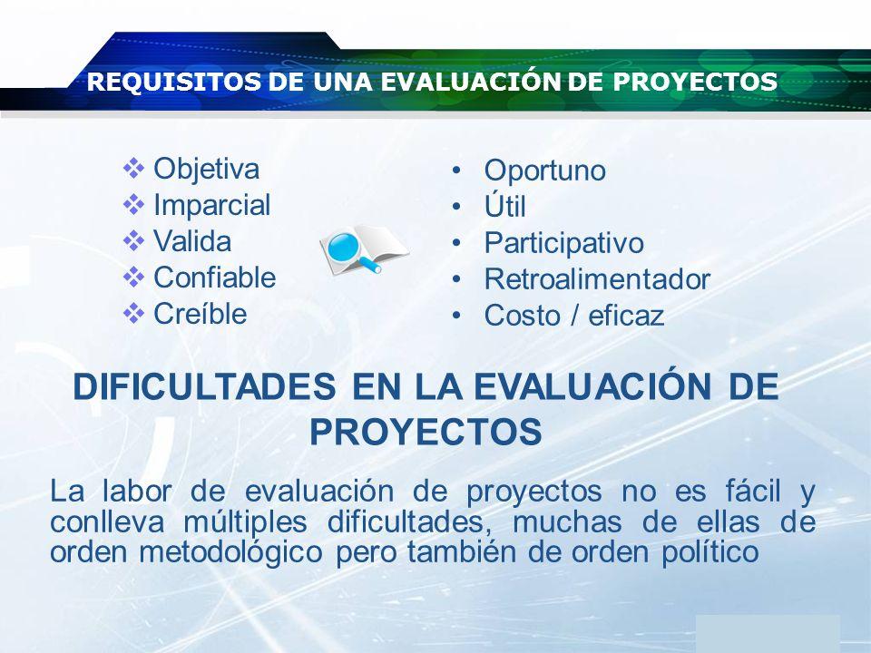 REQUISITOS DE UNA EVALUACIÓN DE PROYECTOS