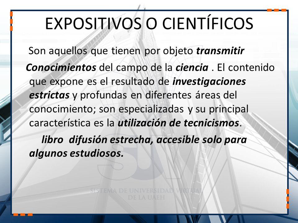 EXPOSITIVOS O CIENTÍFICOS