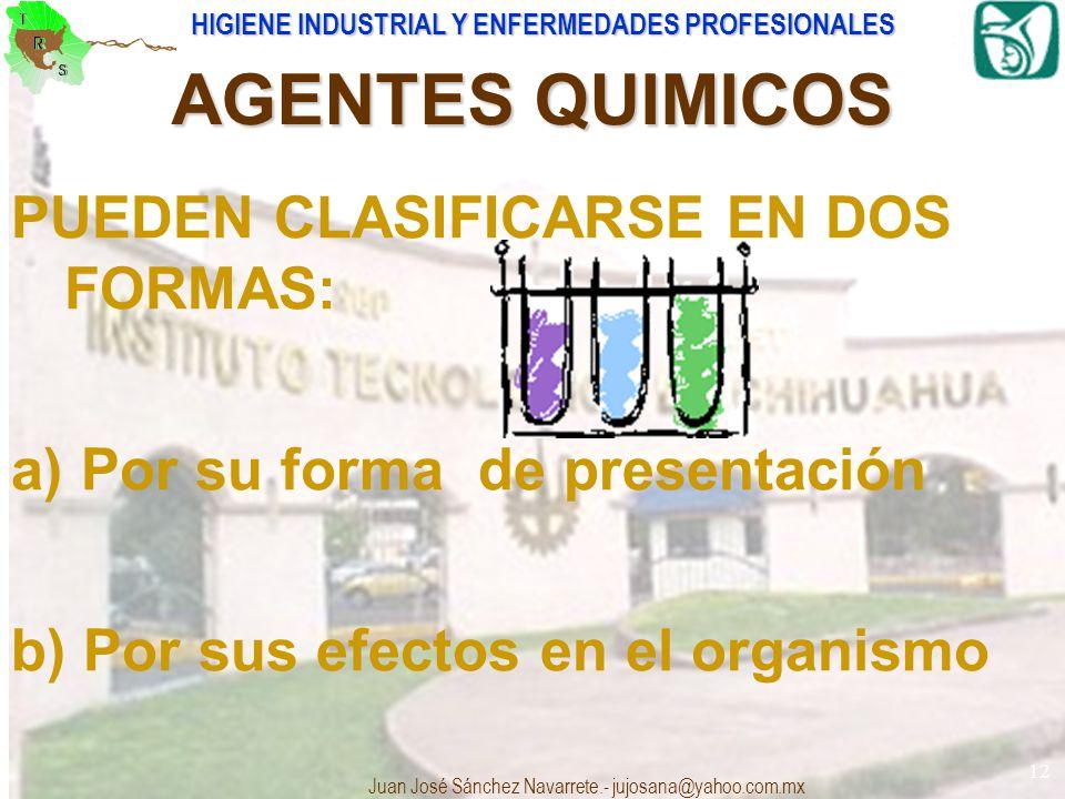 AGENTES QUIMICOS PUEDEN CLASIFICARSE EN DOS FORMAS: