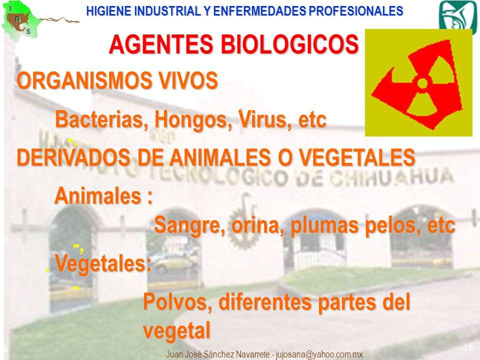 AGENTES BIOLOGICOS ORGANISMOS VIVOS Bacterias, Hongos, Virus, etc