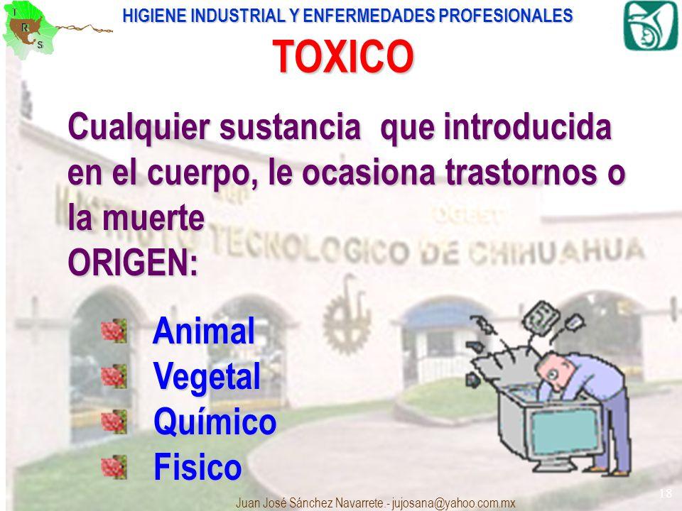 TOXICO Cualquier sustancia que introducida