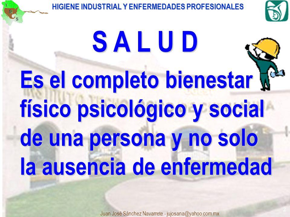 S A L U D Es el completo bienestar físico psicológico y social de una persona y no solo la ausencia de enfermedad.