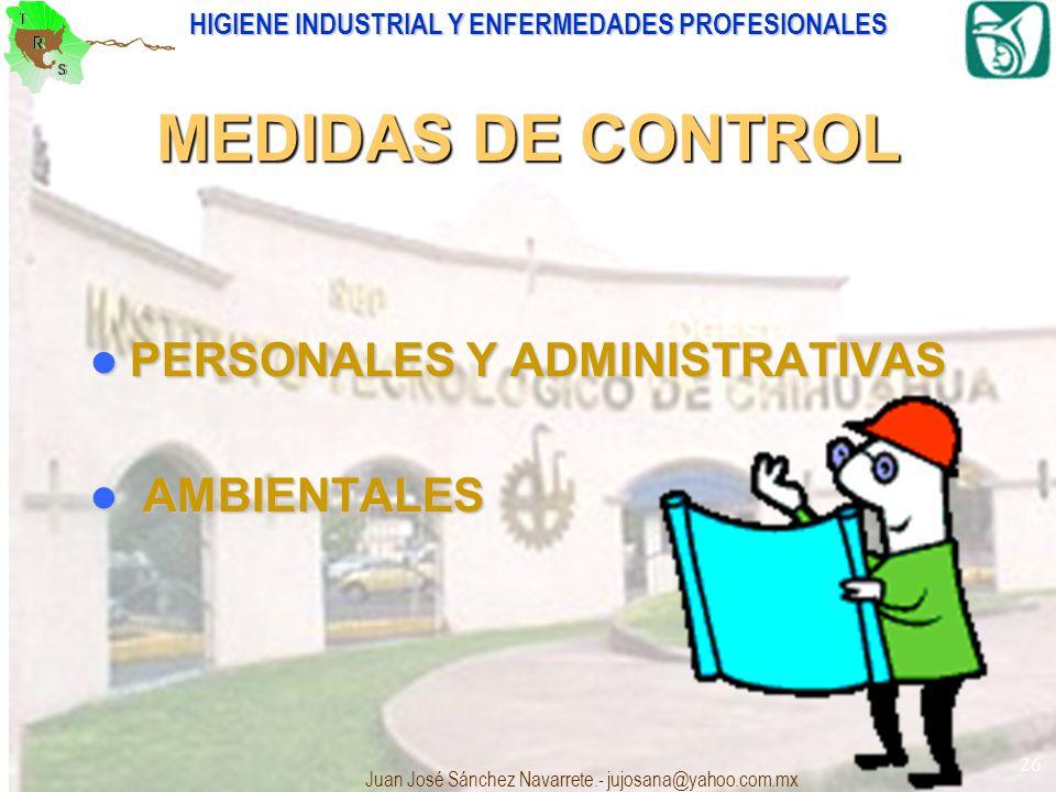 MEDIDAS DE CONTROL PERSONALES Y ADMINISTRATIVAS AMBIENTALES