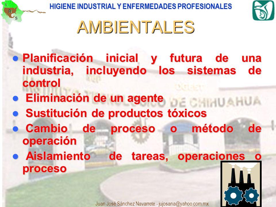 AMBIENTALES Planificación inicial y futura de una industria, incluyendo los sistemas de control. Eliminación de un agente.