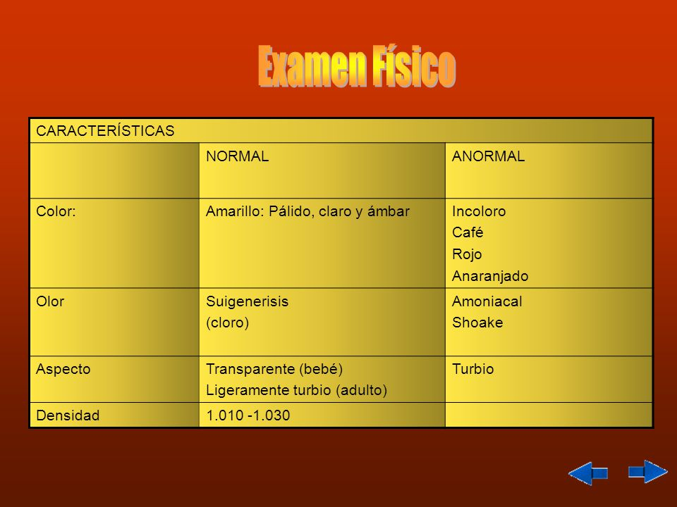 Examen Físico CARACTERÍSTICAS NORMAL ANORMAL Color: