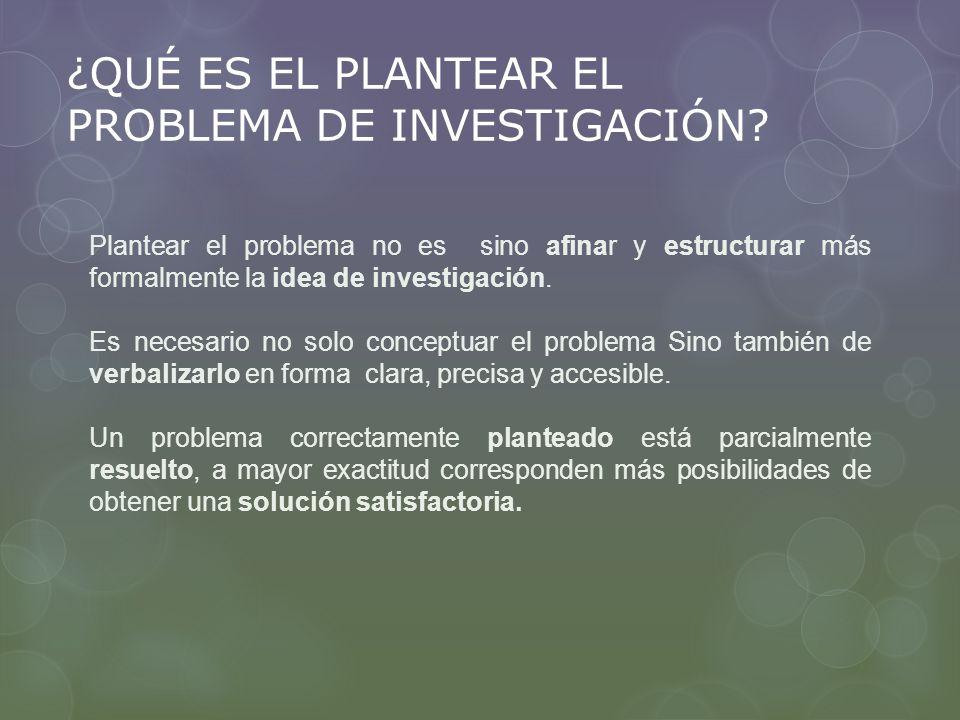 ¿QUÉ ES EL PLANTEAR EL PROBLEMA DE INVESTIGACIÓN