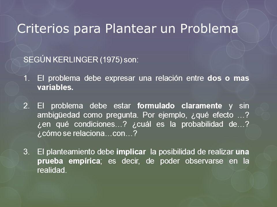 Criterios para Plantear un Problema