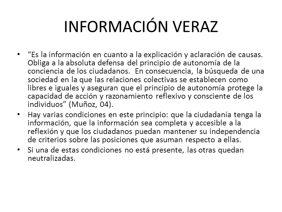 INFORMACIÓN VERAZ