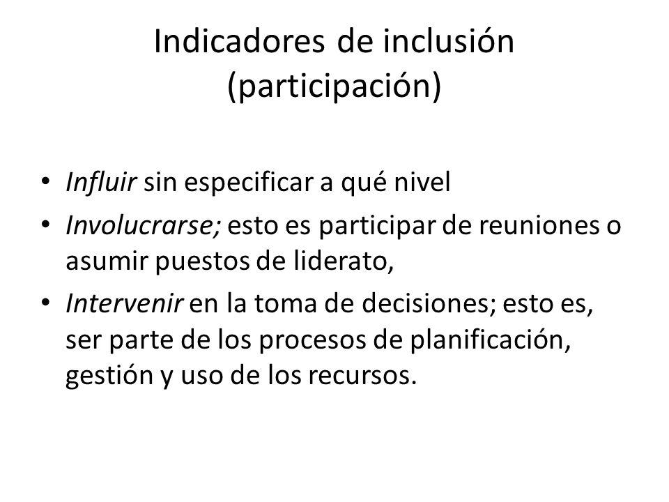 Indicadores de inclusión (participación)